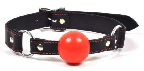 Ballknebel, rot, aus Leder