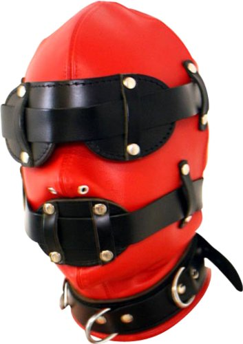 Kopfmaske in rot-schwarz mit Mundknebel und Augenbinde