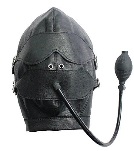 Leder-Kopf-Maske schwarz mit Augenbinde und Latex-Pump-Ball-Knebel