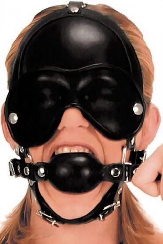 Kopf-Harness mit abnehmbarem Knebel und Augenklappen