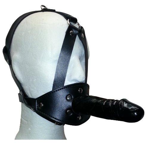 Harness mit langem Penis-Knebel im Kopfgeschirr