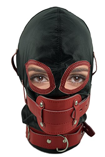 Rindsleder Bondage-Maske in schwarz mit rotem Knebel, abschließbar